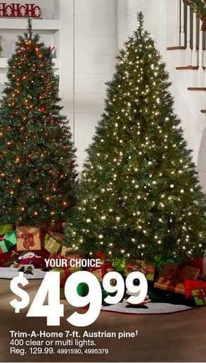 Kmart Black Friday: Trim-A-Home 7-ft Austrian Pine Christmas Tree, 400 Clear or Multi Colored Lights for $49.99