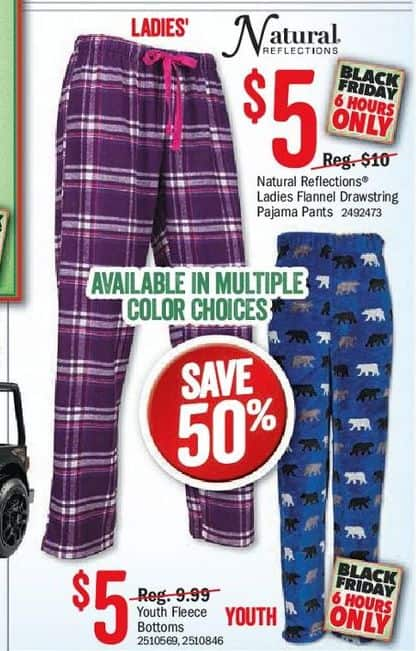 6e5979c68f Bass Pro Shops Black Friday  Natural Reflections Ladies Flannel Drawstraing  Pajama Pants or Youth Bottoms
