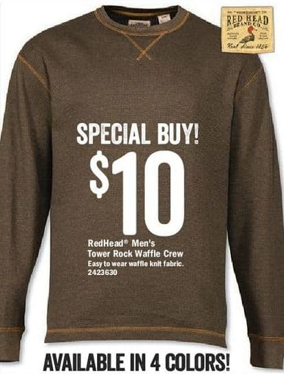 5ee92d8f Bass Pro Shops Black Friday: RedHead Men's Tower Rock Waffle Crew for $10.00
