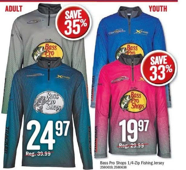 5957d1ec Bass Pro Shops Black Friday: Bass Pro Shops Adult 1/4 Zip Fishing Jersey  for $24.97