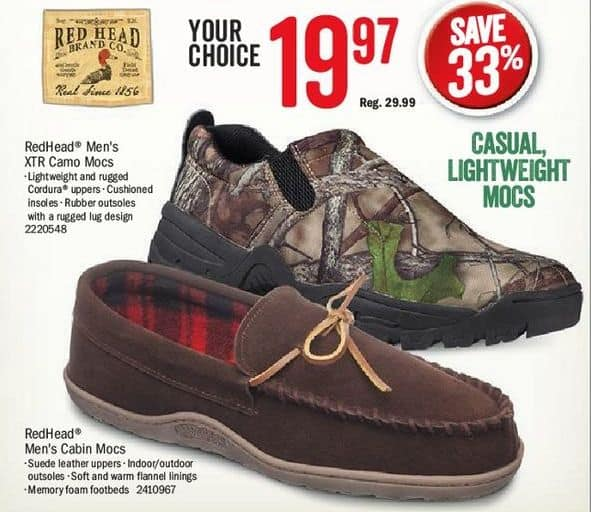 c20d6b9b852f8 Bass Pro Shops Black Friday  RedHead Men s XTR Camo Mocs or Cabin Mocs for   19.97
