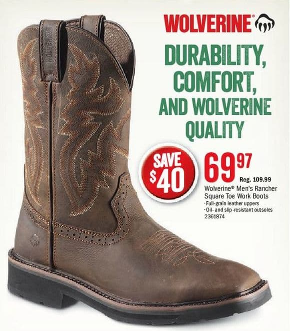 6356a059be5 Bass Pro Shops Black Friday: Wolverine Men's Rancher Square Toe Work ...