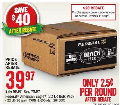 American Eagle Rebate >> Bass Pro Shops Black Friday Federal 1000 Rd American Eagle 22lr