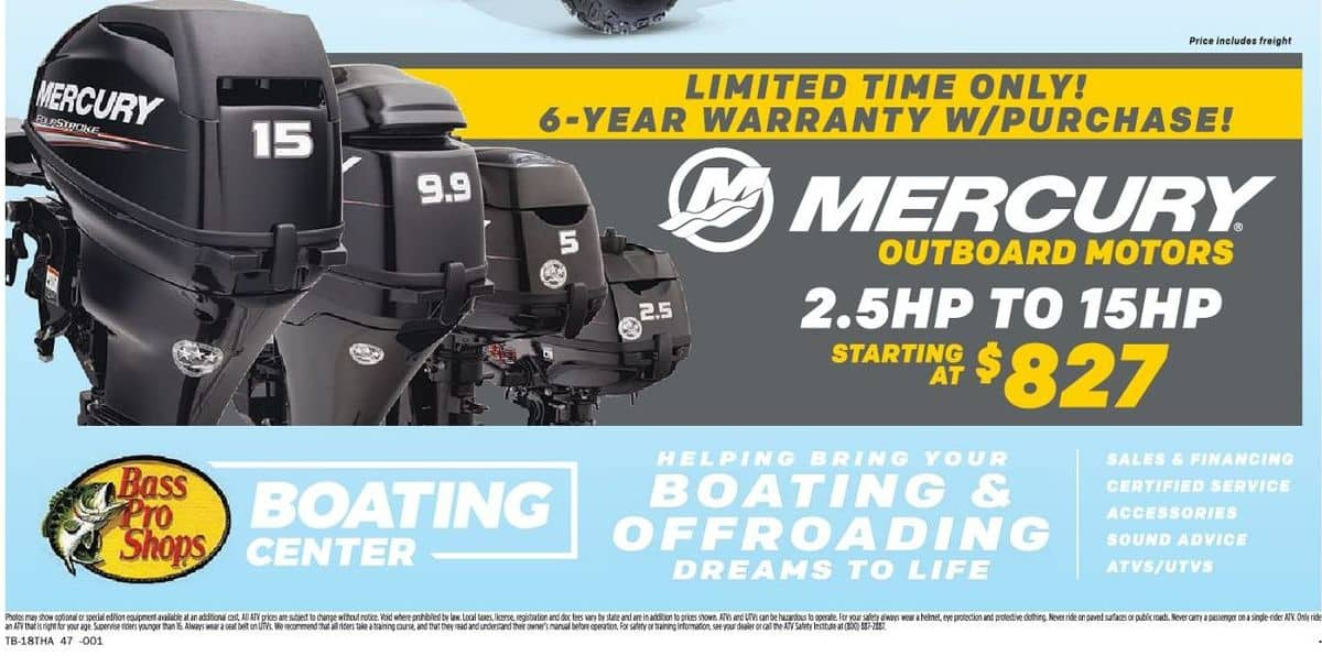 Bass Pro Shops Black Friday: Mercury Outboard Motors 2 5 HP to 15HP