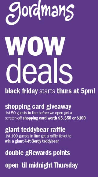 f8bb764cd Gordman's Black Friday: Shopping Card Giveaway: $5, $50 or $100 - First 50  Guests