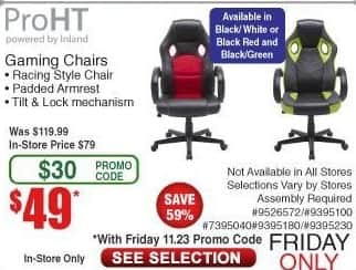 Frys Black Friday Proht Gaming Chair Black White Black
