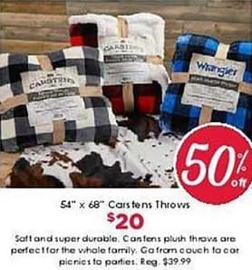 """Craft Warehouse Black Friday: 65"""" x 68"""" Carstens Throws for $20.00"""