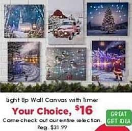 Craft Warehouse Black Friday: Light Up Wall Canvas with Timer for $16.00