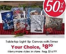 Craft Warehouse Black Friday: Table Top Light Up Canvas with Timer for $8.50