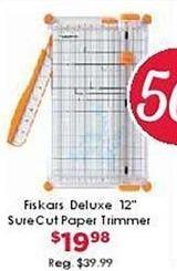 "Craft Warehouse Black Friday: Fiskars Deluxe 12"" SureCut Paper Trimmer for $19.98"