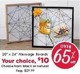 """Craft Warehouse Black Friday: 20"""" x 24"""" Message Boards, Black or Natural for $10.00"""