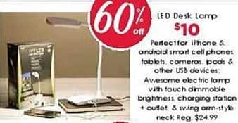 Craft Warehouse Black Friday: LED Touch Dimmable Desk Lamp w/Charging Station & Outlet for $10.00
