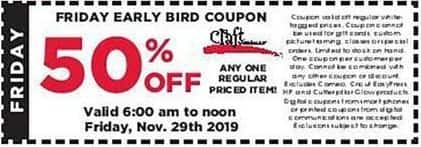 Craft Warehouse Black Friday: Early Bird Coupon: Any One Regular Priced Item 6am to Noon 11/29 - 50% Off