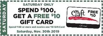 Craft Warehouse Black Friday: Saturday 11/30 Only Coupon: Spend $100 or More, Get A - $10 Gift Card