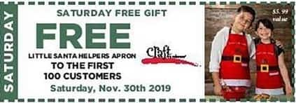 Craft Warehouse Black Friday: Saturday 11/30 Only Coupon: Free Little Santa's Helpers Apron For - First 100 Customers