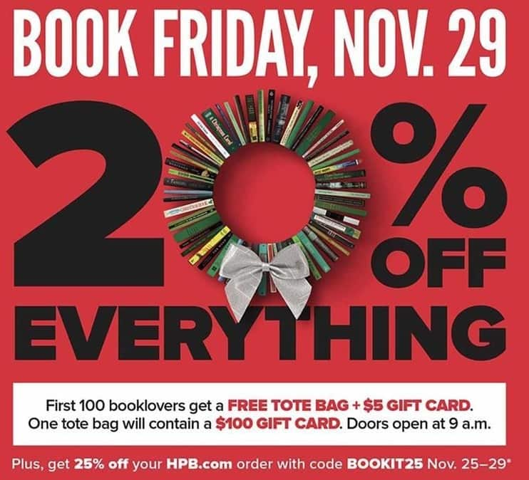Half Price Books Black Friday: The First 100 Booklovers on 11/29 Will Receive a Tote Bag and $5 Gift Card for Free