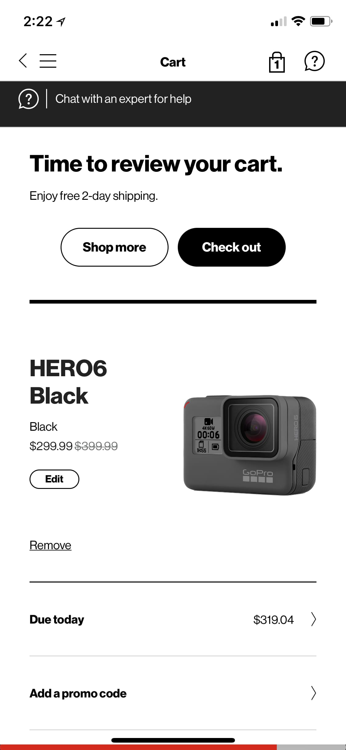 Verizon App: GoPro Hero 6 $299 YMMV + $50 prepaid card