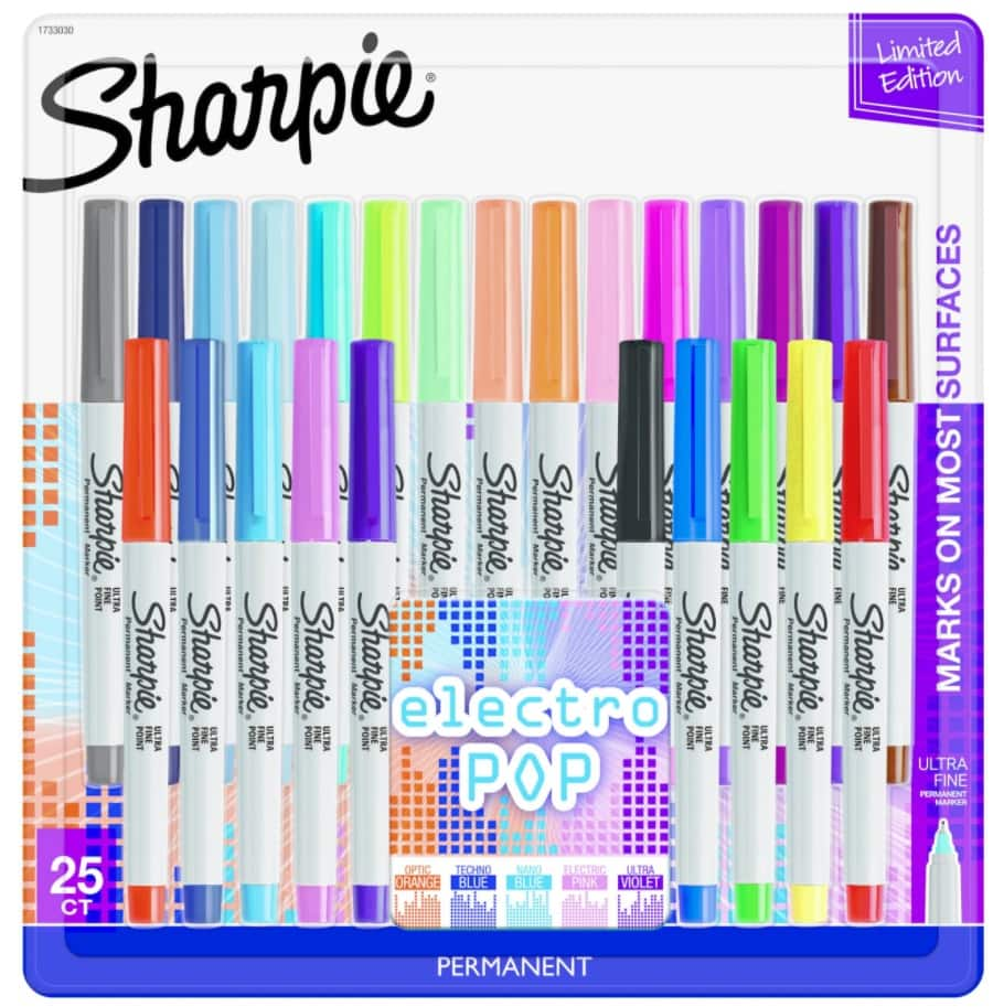 Sharpie Ultra Fine Tip Markers 25ct - Electro Pop Colors - $10 at Target