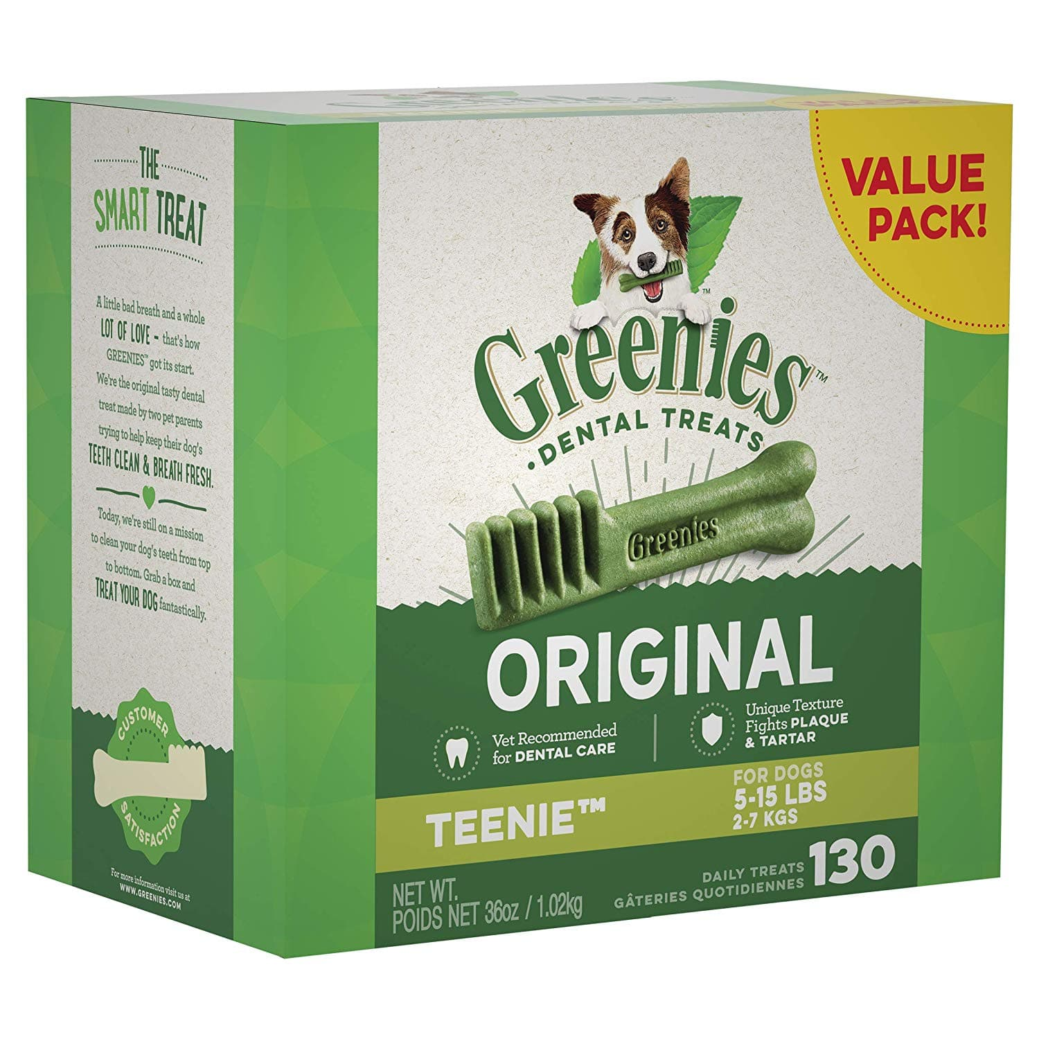 YMMV Greenies Dog Dental Chews Dog Treats - Teenie Size (5-15 lb Dogs) - 130 count for 16.99 shipped plus tax $16.99