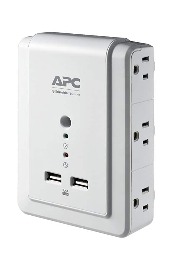 APC 6 outlet surge protector with 2 USB charging ports, $12.66 after $3 coupon.