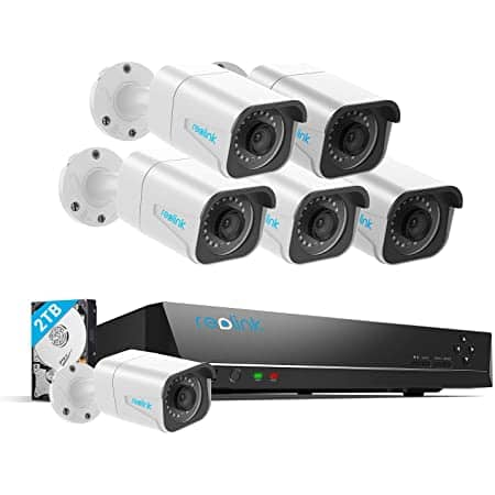 Reolink Security Camera System, 6pcs 8MP Wired PoE IP Cameras, 8CH NVR Recorder with 2TB HDD $475.99