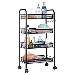 4-Tier Kitchen Storage Bathroom Shelving Unit Wire Rolling Cart $49.98 + fs
