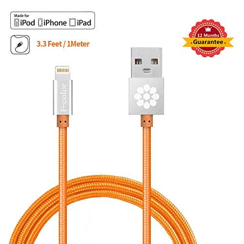 3.3 ft braided Apple certified MFi Lightning cable for $9.99 AC @Amazon