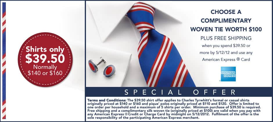 Charles Tyrwhitt shirts $39, free shipping and free tie (w/ AMEX) - FINAL WEEK