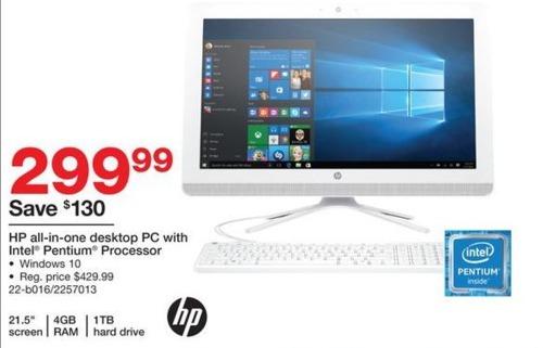 "Staples Black Friday: HP 22-b016 21.5"" All-in-One Desktop PC: Intel Pentium J3710, 4GB RAM, 1TB Hard Drive, and Windows 10 for $299.99"