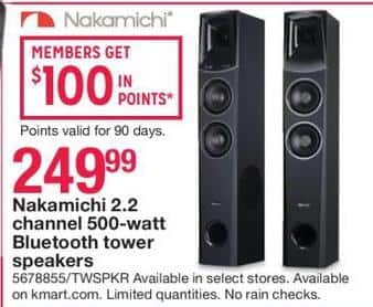 Kmart Black Friday: Nakamichi 2.2 Channel 500 Watt Bluetooth Tower Speakers for $249.99