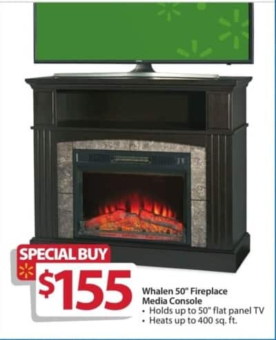 walmart black friday whalen 50 fireplace media console supports up to 50 flat panel tv and. Black Bedroom Furniture Sets. Home Design Ideas