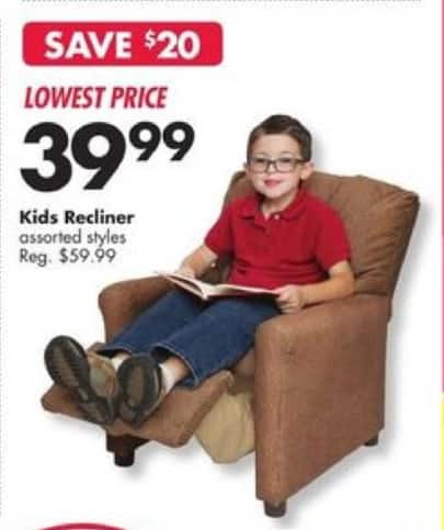 Big Lots Black Friday: Kids' Recliner, Assorted Styles for $39.99