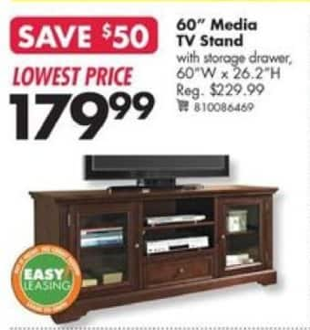 big lots black friday tv media stand with storage drawer 60 w x 26 2 h for. Black Bedroom Furniture Sets. Home Design Ideas