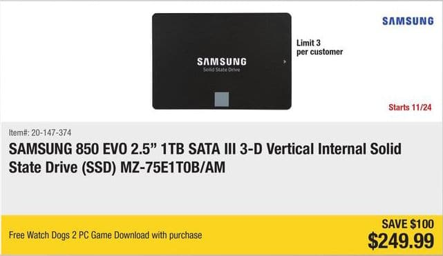 "Newegg Black Friday: 1TB Samsung 850 EVO MZ-75E1T0B/AM 2.5"" SATA III 3-D Vertical Internal SSD + Free Watch Dogs 2 PCDD Game for $249.99"