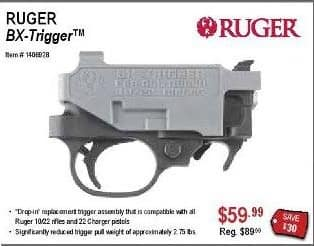 """Sportsman's Warehouse Black Friday: Ruger BX-Trigger """"Drop-in"""" Replacement Trigger Assembly Compatible with All Ruger 10/22 Rifles and 22 Charger Pistols for $59.99"""