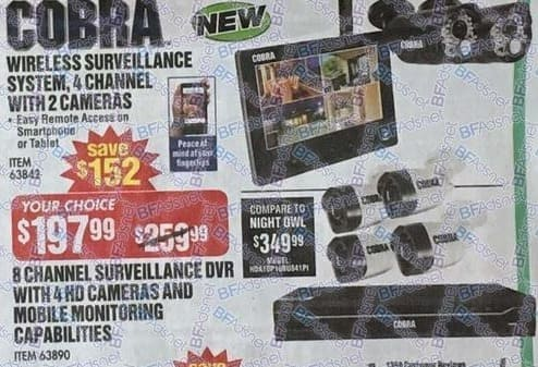 Harbor Freight Black Friday: Cobra 4-Channel Wireless Surveillance System with 2 Cameras for $197.99