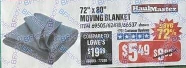 "Harbor Freight Black Friday: Moving Blanket, 72"" x 80"" for $5.49"