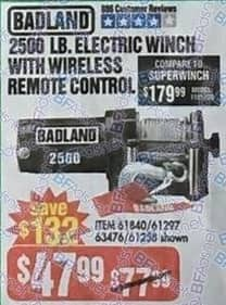 Harbor Freight Black Friday: Badland 2500 lb Electric Winch with Wireless Remote Control for $47.99