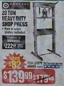 Harbor Freight Black Friday: Central 20 Ton Heavy Duty Shop Press with Pair of Arbor Plates for $139.99