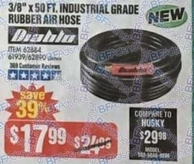 "Harbor Freight Black Friday: Diablo Industrial Grade Rubber Air Hose, 3/8"" x 50-ft for $17.99"