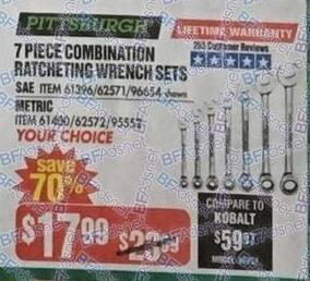 Harbor Freight Black Friday: Pittsburgh Combination Ratcheting Wrench Sets, 7-pc: SAE or Metric for $17.99
