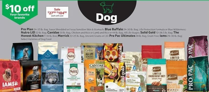 Pet Supplies Plus Black Friday: Assorted Dog Food w/ Card: Pro Plan, Blue Buffalo, Nutro LID, The Honest Kitchen, Merrick, Iams and More - $10 Off