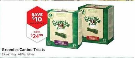 Pet Supplies Plus Black Friday: Greenies Canine Treats, 27 oz w/ Card for $24.98