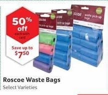 Pet Supplies Plus Black Friday: Roscoe Waste Bags, Select Varieties w/ Card - 50% Off