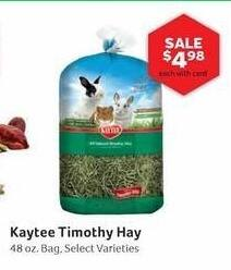 Pet Supplies Plus Black Friday: Kaytee Timothy Hay, Select Varieties 48 oz w/ Card for $4.98