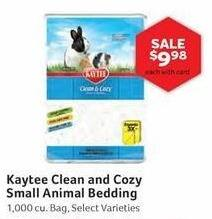 Pet Supplies Plus Black Friday: Kaytee Clean and Cozy Small Animal Bedding, Select Varieties 1000 cu. ft. w/ Card for $9.98