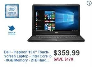 "Best Buy Black Friday: Dell Inspiron I3567-5664BLK-PUS 15.6"" Intel Core i5 8GB 2TB Touch-Screen Laptop for $359.99"