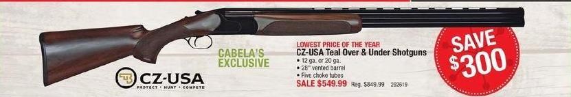 """Cabelas Black Friday: CZ-USA Teal Over & Under Shotguns with 28"""" Vented Barrel, 12 ga or 20 ga for $549.99"""