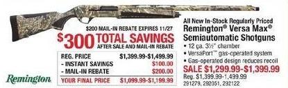 Cabelas Black Friday: Entire Stock Regularly Priced Remington Versa Max 12 ga Semiautomatic Shotguns for $1,099.99 - $1,199.99 after $200.00 rebate