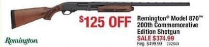 Cabelas Black Friday: Remington Model 870 200th Commemorative Edition Shotgun for $374.99